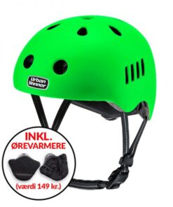 * TILBUD INKL. ØREVARMERE * Neon grøn letvægts cykelhjelm med magnetlås og reflekser, UrbanWinner Power Green